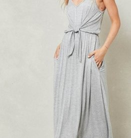 striped knit dress with knotted waist