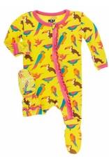 kickee pants banana tropical birds ruffle footie