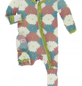 kickee pants tropical flowers ruffle footie with zipper