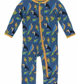 kickee pants twilight tropical birds coverall with snaps