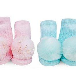 waddle set of 2 pom pom rattle socks pink/turq size 0-12