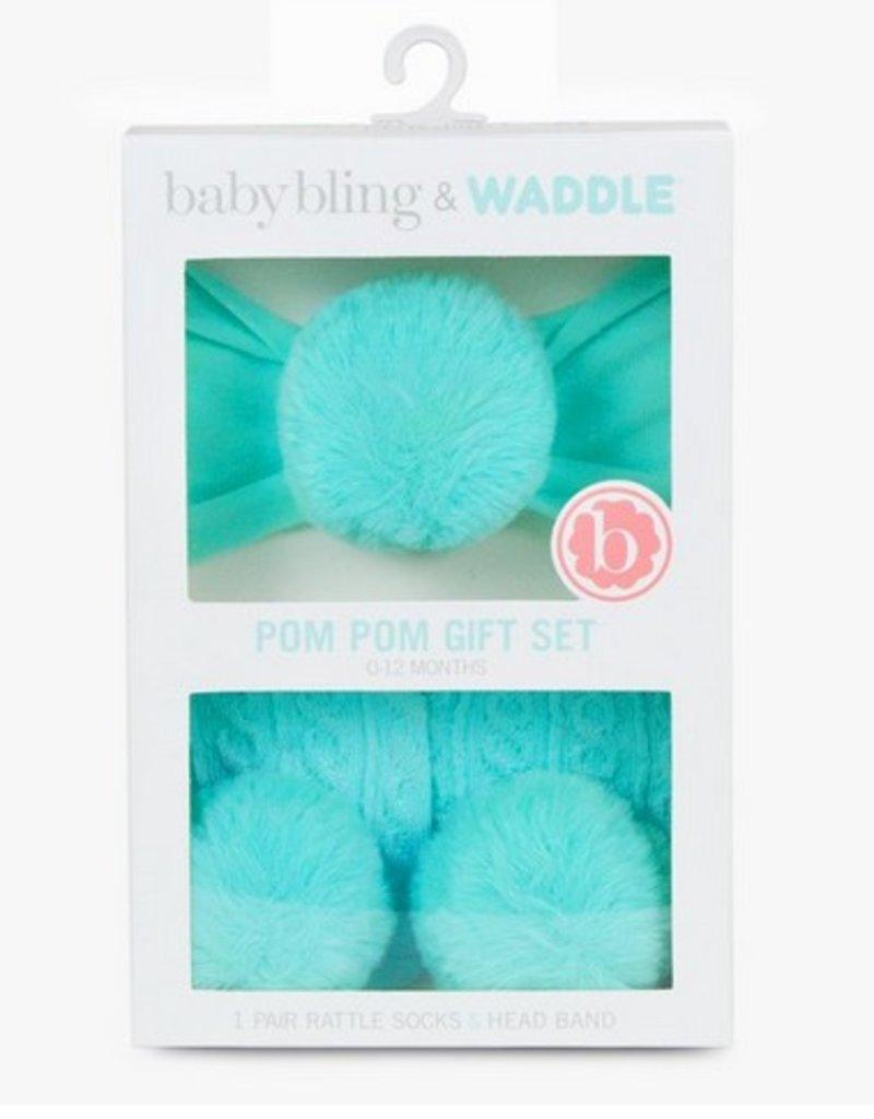 waddle aqua pom headband/rattle sock set 0-12 m
