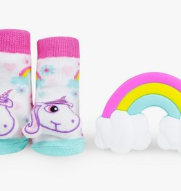 waddle unicorn rattle sock and silly chew 0-12m