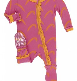 kickee pants carnival feathers muffin ruffle footie with zipper