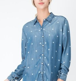 long sleeve star pattern button up top