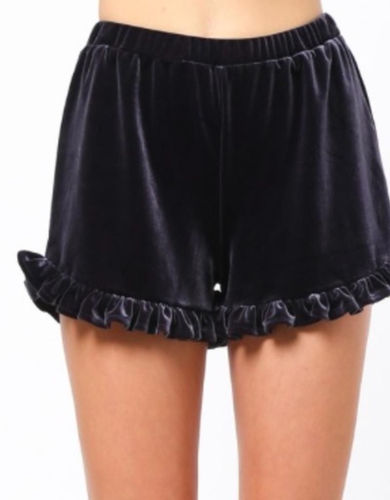 ruffle velvet short