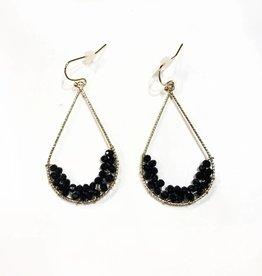 beaded teardrop earrings -blk