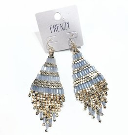 grey and gold beaded statement earrings