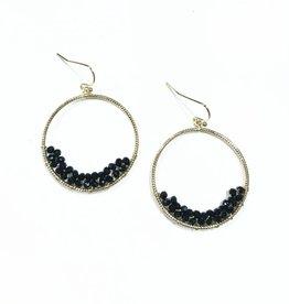 beaded hoop earrings - blk