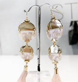peach beaded triangle earrings with fringe