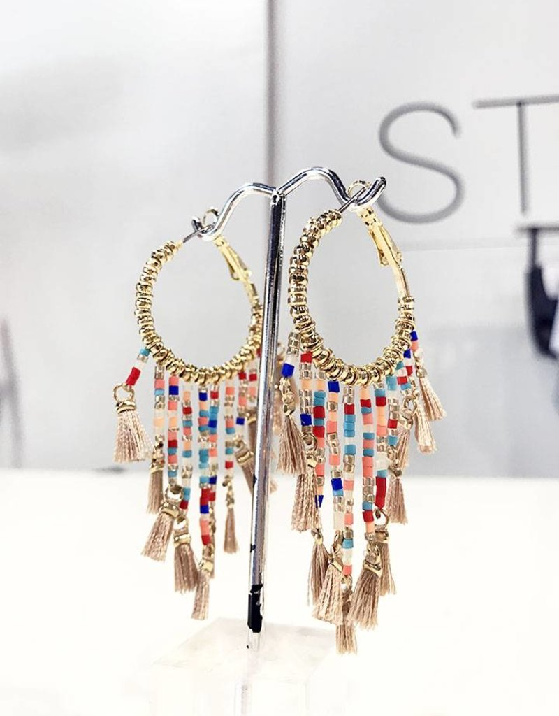 gold hoop multi colored bead earrings