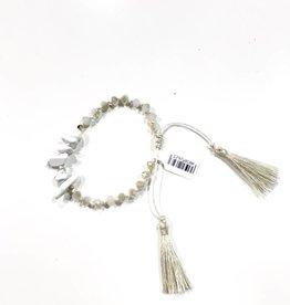 marble beaded tassel tie bracelet