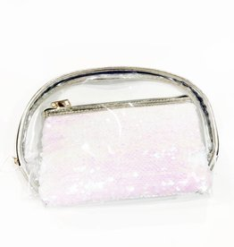 sequin set of 2 cosmetic pouches