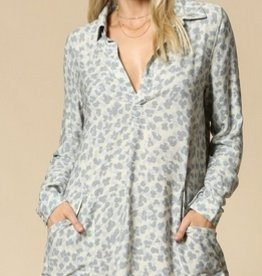 roll sleeve leopard print tunic dress