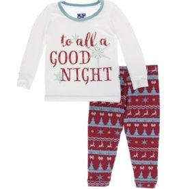 kickee pants holiday long sleeve pajama set - nordic print
