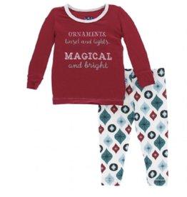 kickee pants holiday long sleeve pajama set - natural vintage ornaments