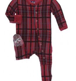 kickee pants Christmas plaid footie with zipper