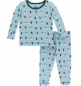 kickee pants glacier holiday lights long sleeve pajama set