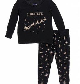 kickee pants rose gold bright stars long sleeve pajama set