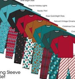 kickee pants mens holiday long sleeve pajama set - natural vintage ornaments