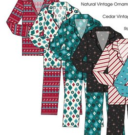 kickee pants womens print long sleeve fitted pajama set - natural vintage ornaments