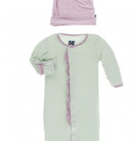 kickee pants aloe with sweet pea solid ruffle layette gown converter and knot hat set