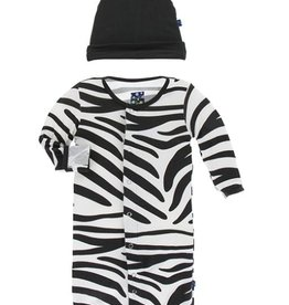 kickee pants natural zebra print layette gown and converter and knot hat set