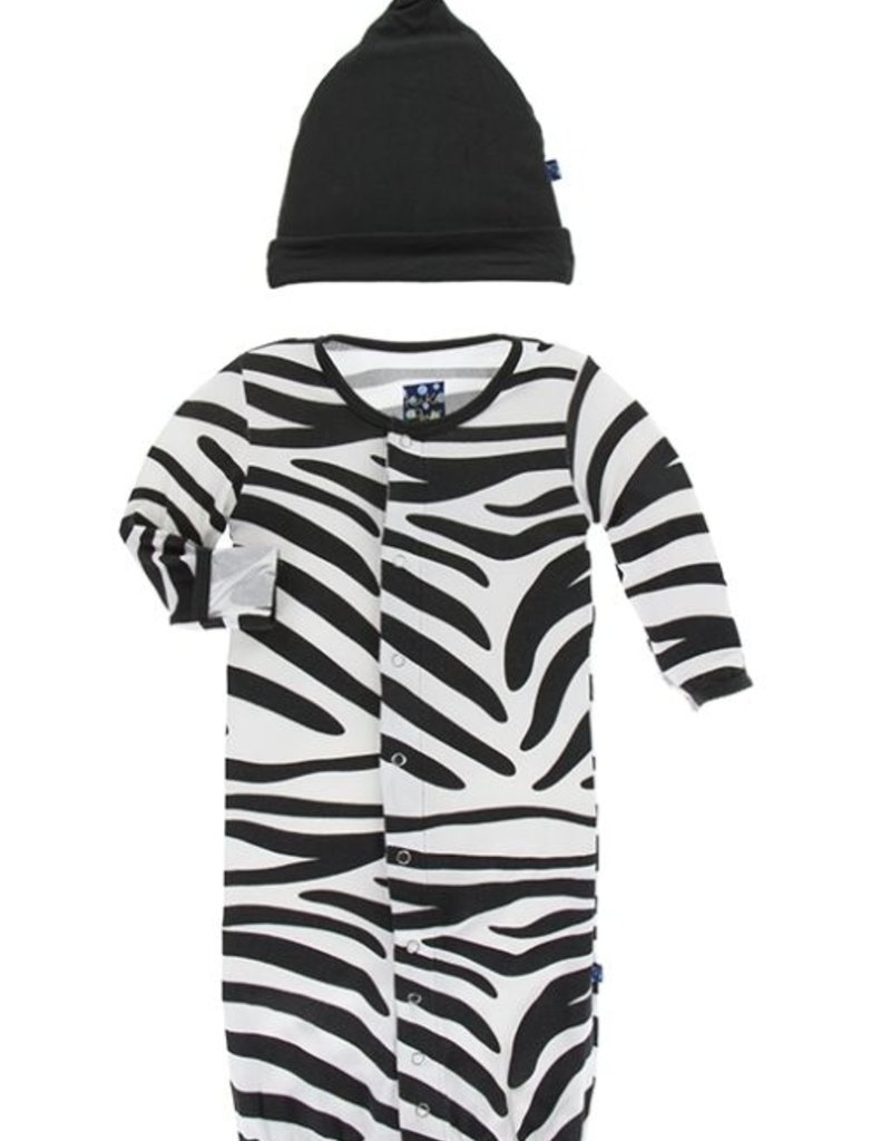 kickee pants natural zebra print layette gown and converter and knot ...