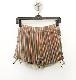 pleated stripe knit short