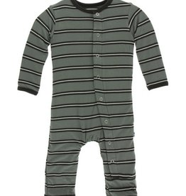 kickee pants succulent kenya stripe coverall with snaps