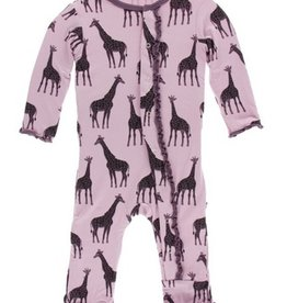 kickee pants sweet pea giraffe muffin ruffle coverall with snaps