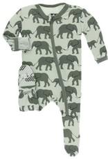 kickee pants aloe elephants footie with zipper