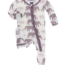 kickee pants natural elephants print muffin ruffle footie with zipper