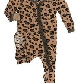 kickee pants suede cheetah print muffin ruffle footie with zipper
