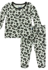kickee pants aloe cheetah print long sleeve pajama set