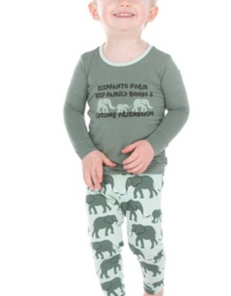 kickee pants aloe elephants long sleeve pajama set