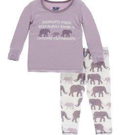 kickee pants natural elephants long sleeve pajama set