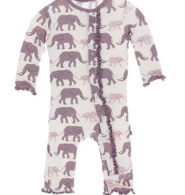 kickee pants natural elephants muffin ruffle coverall with snaps