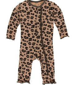 kickee pants suede cheetah print muffin ruffle coverall with snaps