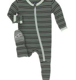 kickee pants succulent kenya stripe footie with zipper