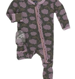 kickee pants african violets muffin ruffle footie with zipper