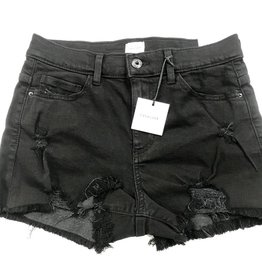 black high rise frayed denim short