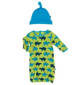 kickee pants meadow capybara layette gown and knot hat set