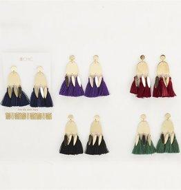 two's company hanging tassel earrings