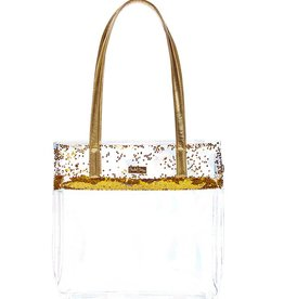 packed party gold confetti stadium tote bag