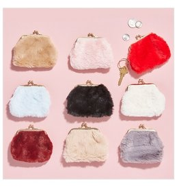 two's company faux fur coin purse