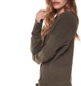 dex open sweater cardigan with patch pockets