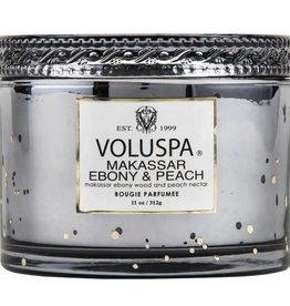 voluspa makassar ebony & peach 11 oz corta maison glass candle
