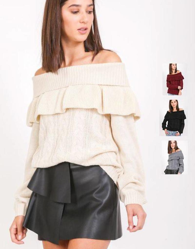 ruffle off shoulder sweater