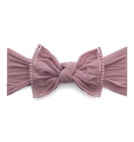Baby Bling trimmed classic knot mini pom: mauve